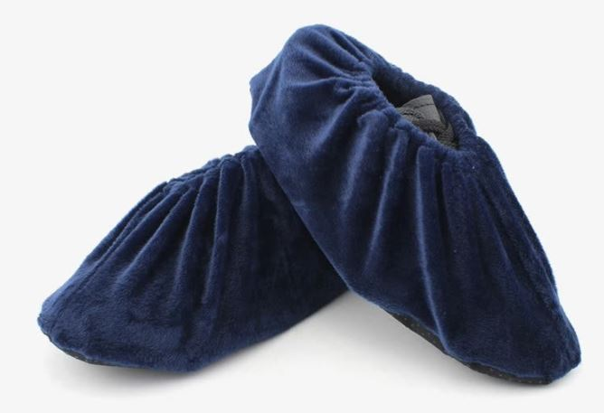 Gagarin shoe covers thick flannel 10 pairs can be washed non-disposable non-woven machine room factory office household velvet shoe cover hidden blue