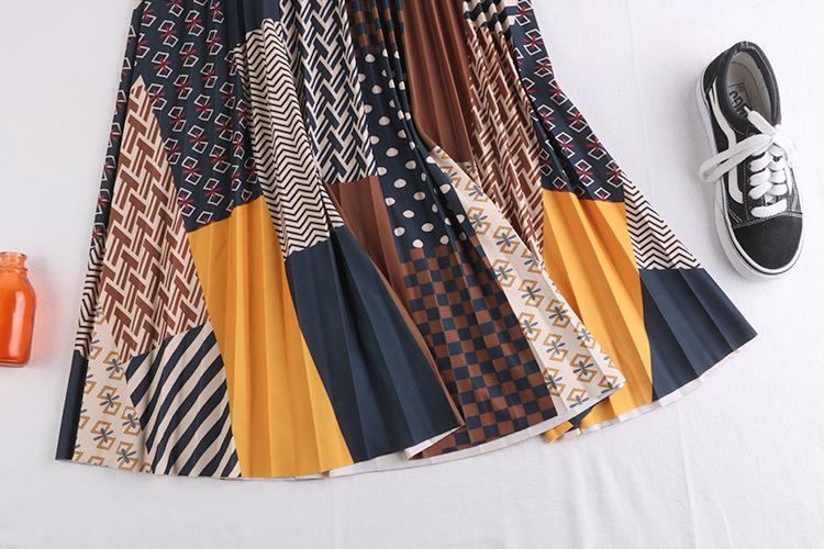 Chân váy xếp ly Vintage dáng dài chất không nhăn VAY35 phối nhiều màu (Free size) 13