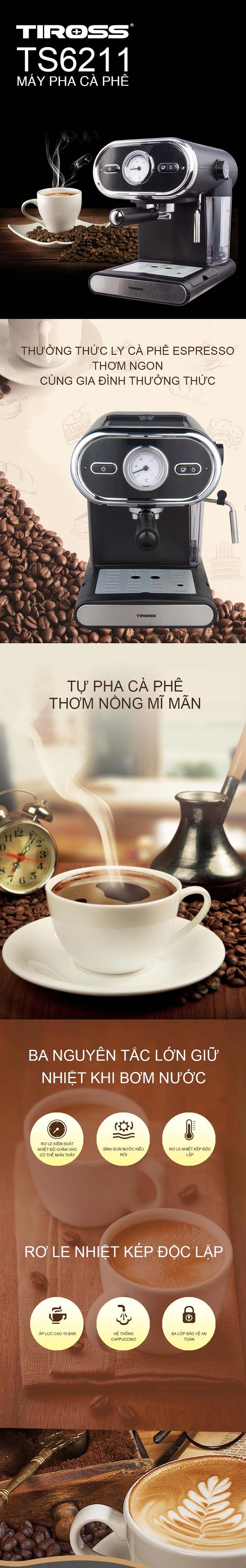 Máy Pha Cà Phê Espresso Tiross TS6211 - Hàng Chính Hãng