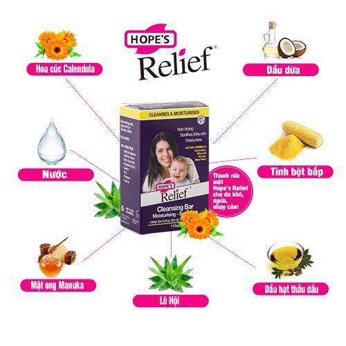 Thanh rửa mặt Hope's Relief cho da khô ngứa, eczema, viêm da, vảy nến 110g