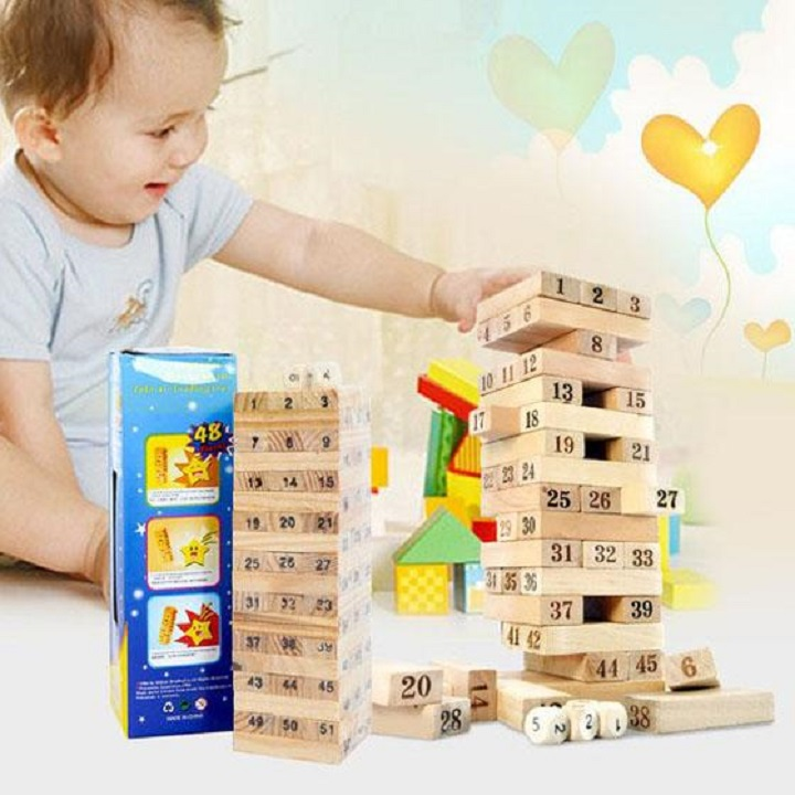 Đồ chơi trẻ em, đồ chơi thông minh, bộ đồ chơi rút gỗ 54 thanh wiss toy gỗ tự nhiên kèm xúc xắc, không độc hại phù hợp với cả trẻ em và người lớn Tặng Kèm Móc Khóa 4Tech. 3