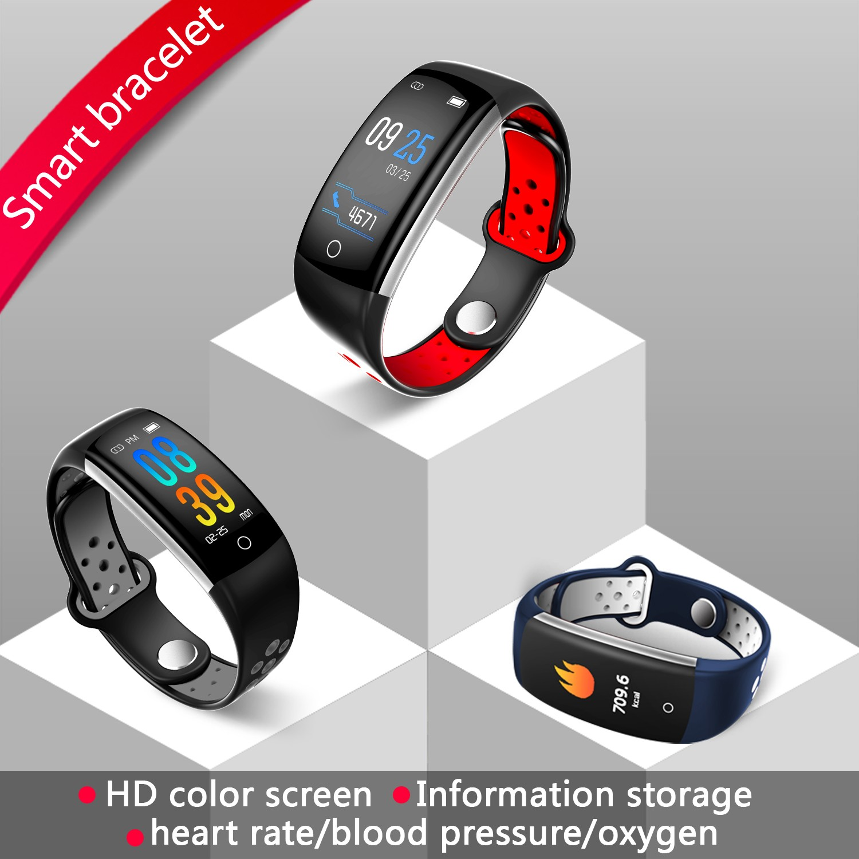Vòng đeo tay thông minh Q6 (Màn hình màu - Kiểu dáng thời trang - Đo nhịp tim - Chống nước)