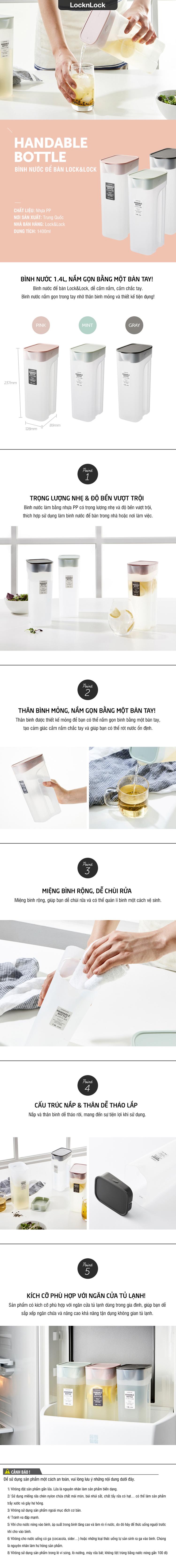 HAP817GRY-Bình nước Handle Bottle 1.4L-PP-VN-15