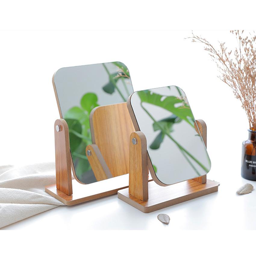 Gương trang điểm để bàn decor mini 13x18cm, xoay 360 độ, chất liệu gỗ ép thân thiện, sang trọng 5