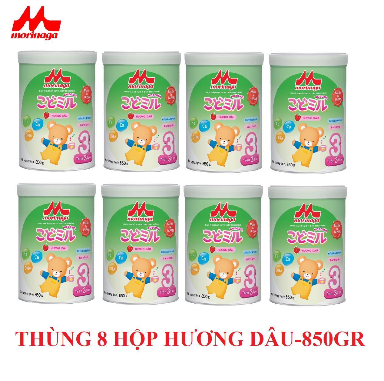 Thùng 8 hộp sữa Morinaga số 3 Koddomil 850gr- hương dâu (tách đai) 2