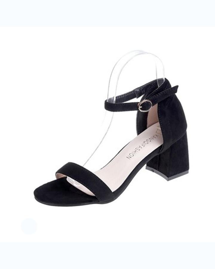 Giày Cao Gót Đế Vuông Quai Ngang Black 1