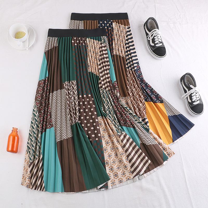 Chân váy xếp ly Vintage dáng dài chất không nhăn VAY35 phối nhiều màu (Free size) 1