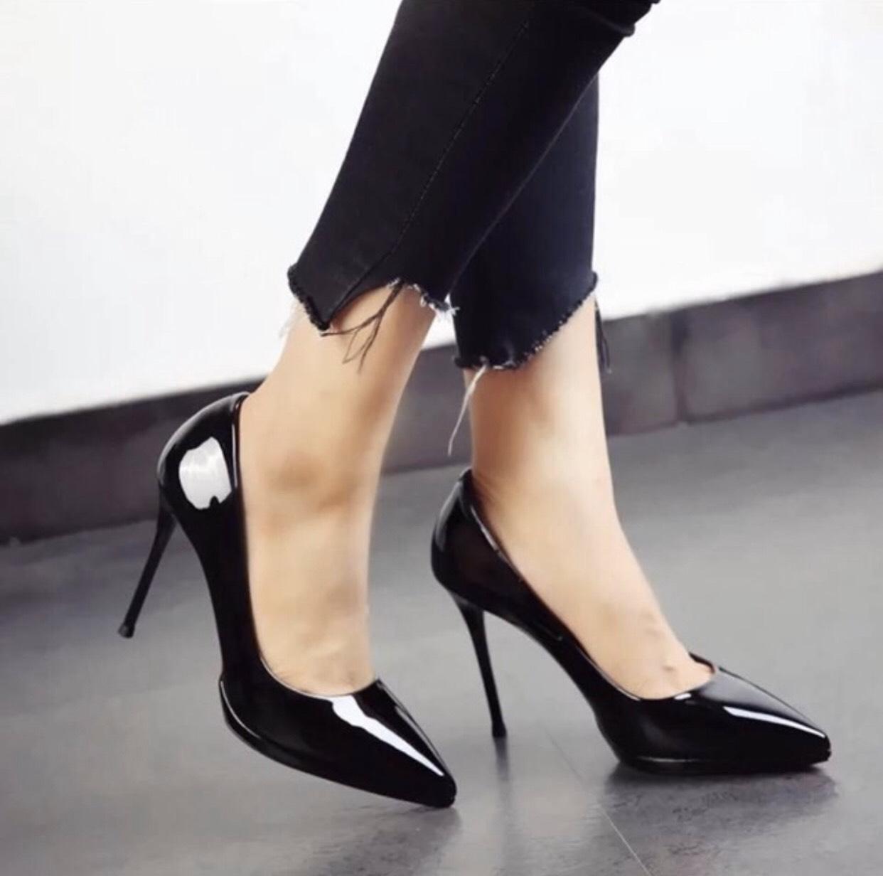 Giày cao gót nữ 9p gót nhọn da bóng dáng basic GC91 1