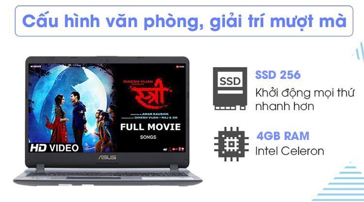 Asus X507MA BR318T Intel N4000 _4GB _256GB SSD _VGA INTEL _Win 10 / Hàng Chính Hãng