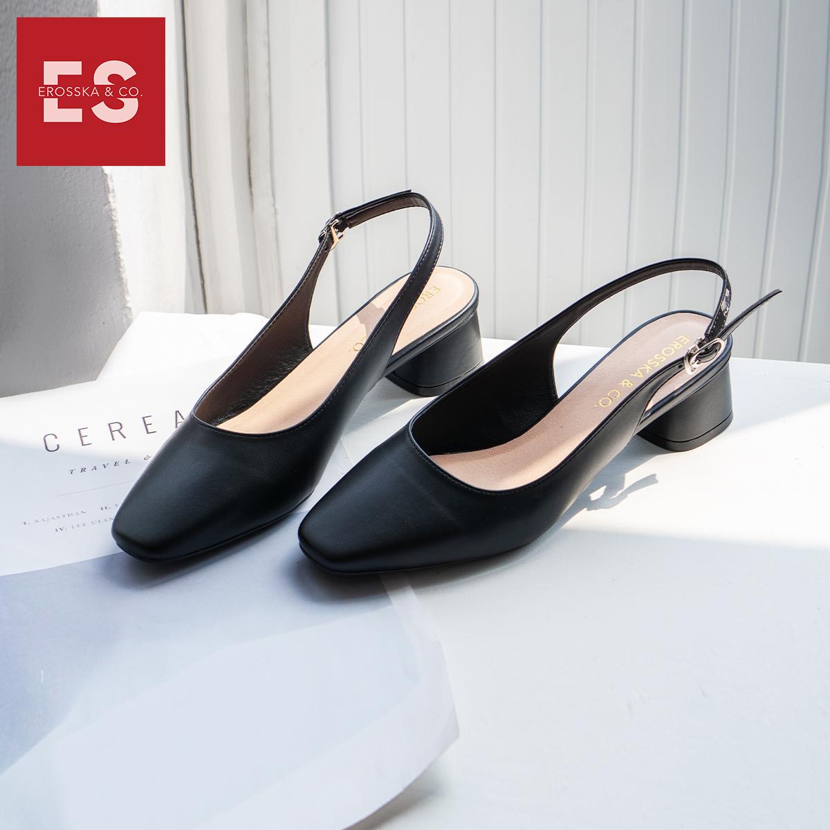 Giày nư , gia y cao gót slingback Erosska mũi vuông kiểu dáng basic gót vuông vững chắc cao 5cm - EL013 5