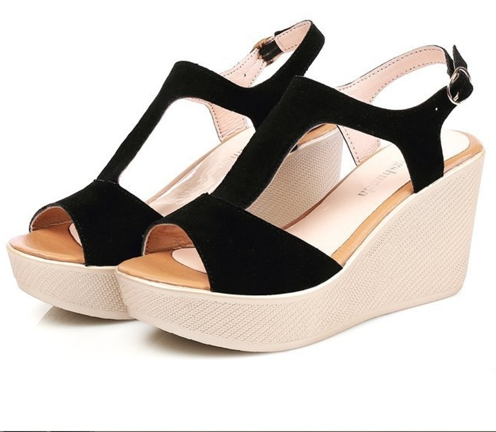 Giày Sandals nữ đế xuồng cao 7cm quai chữ T da lộn siêu nhẹ C33 1