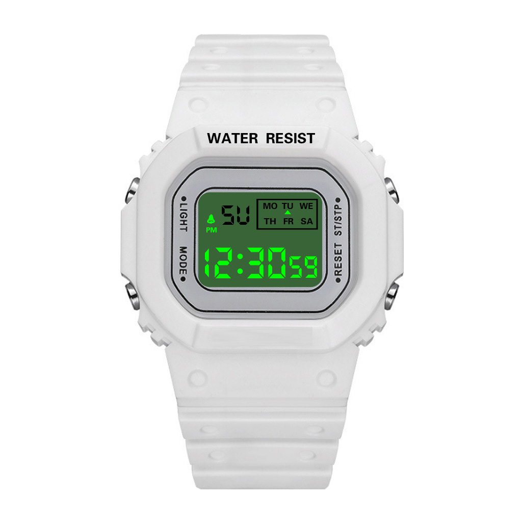 Đồng Hồ NỮ điện tử KASAWI Mặt Vuông K01222 Sports - xem giờ điện tử - báo thức - bấm giờ thể thao - xem lịch ngày tháng thứ - Dây Silicone Bền Chắc 6