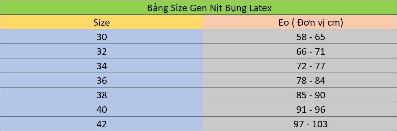 cách chọn size sản phẩm gen nịt bụng