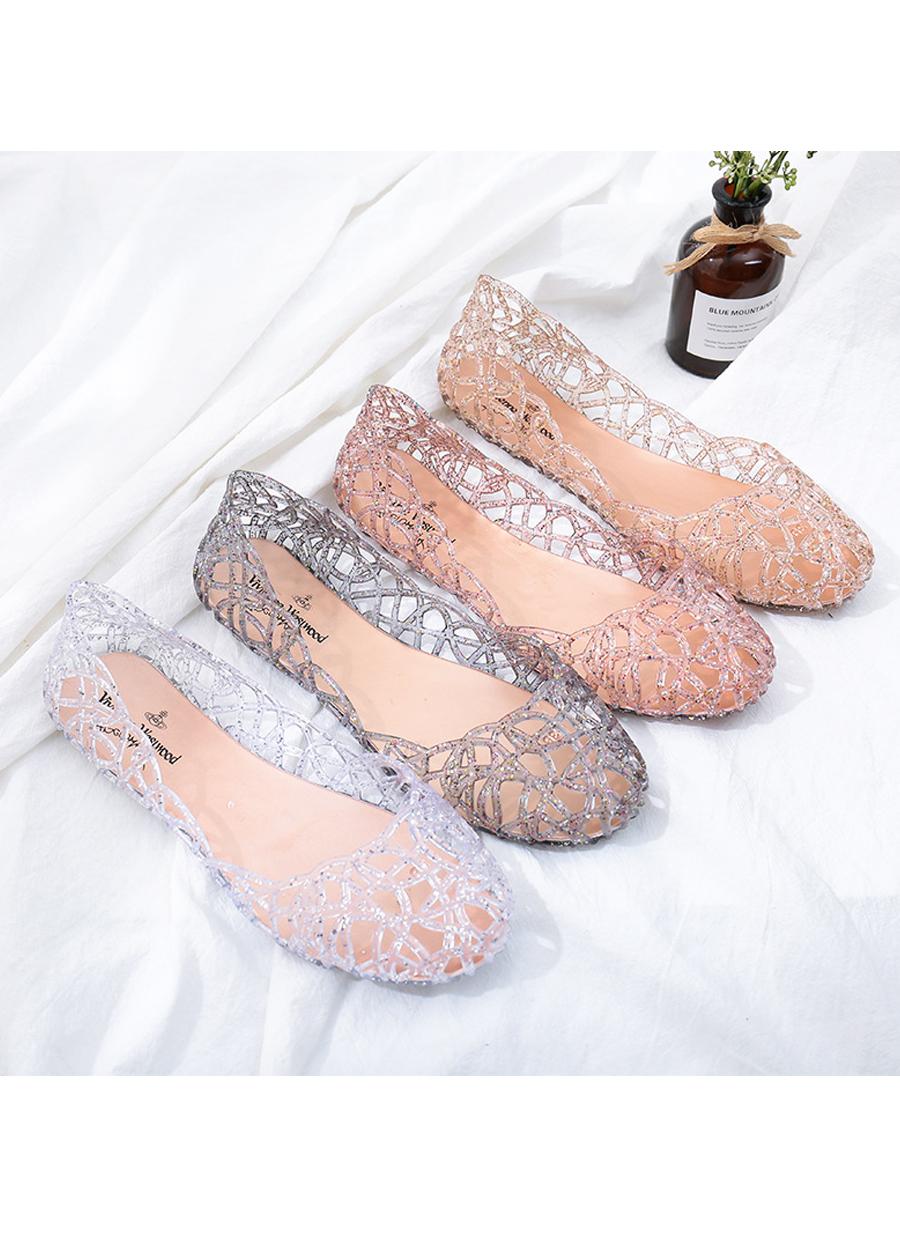 Giày búp bê nữ đế bằng nhựa đi mưa siêu bền đi thoáng và êm chân full size nhiều màu V217 9