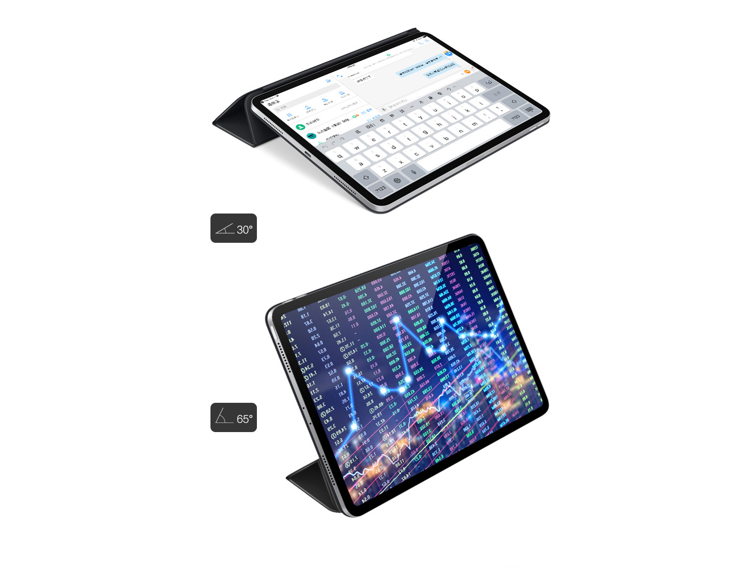 Essence (ESR) Apple iPad Pro11 Cover [2018 Edition] Full Screen Cover Smart Magnetic Double-sided Clip Lightweight Drop-proof Tri-Fold Leather Case Yue Color Series Mystery Black
