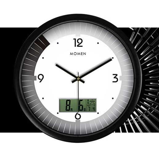 Momen wall clock creative LCD multi-function clock fashion living room modern clock bedroom wall clock hanging table quartz clock