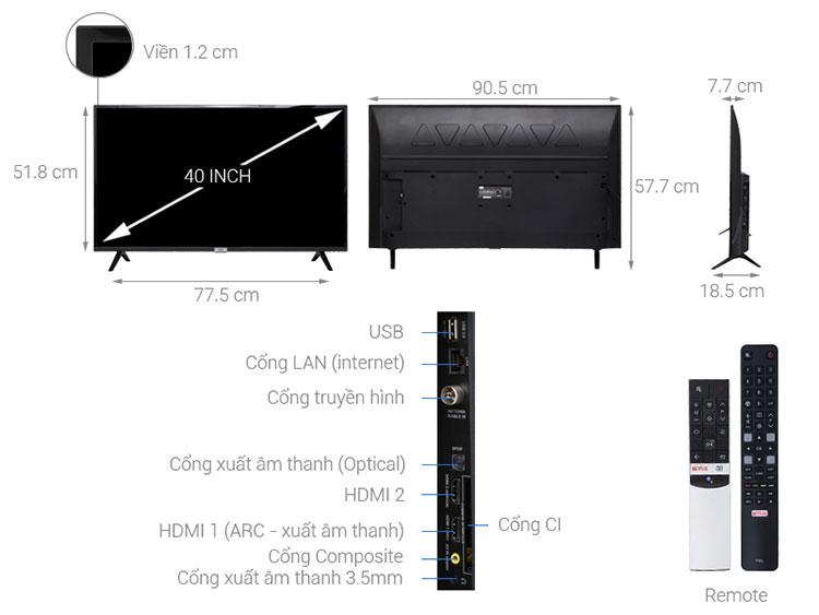 Smart Tivi TCL 40 inch L40S6800 - Hàng Chính Hãng