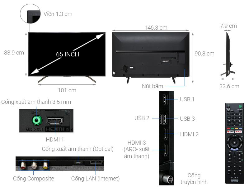Smart Tivi Sony 4K 65 inch KD-65X7000G VN3