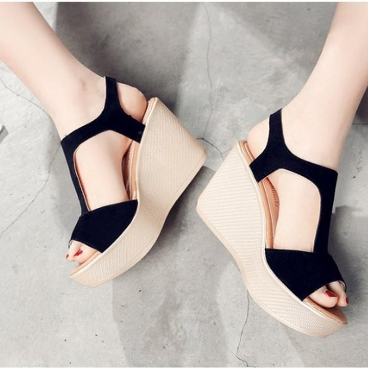 Giày Sandals nữ đế xuồng cao 7cm quai chữ T da lộn siêu nhẹ C33 6