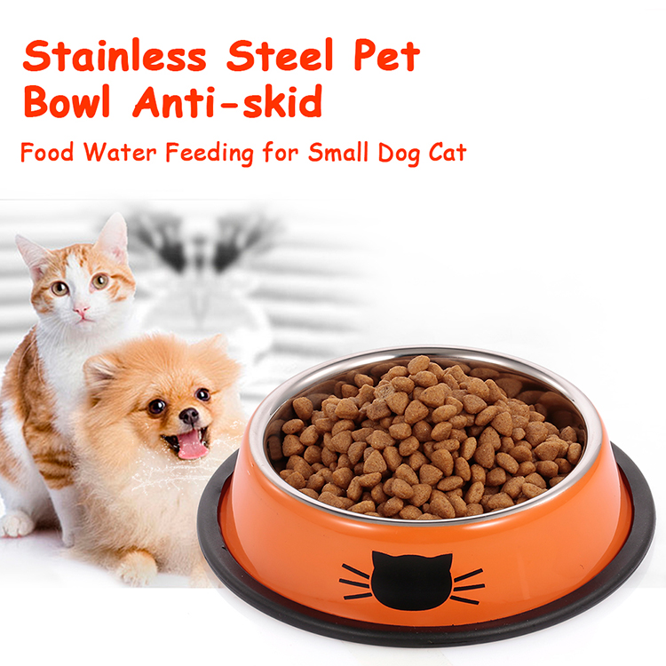 Stainless Steel Pet Bowl Anti-skid Dish Bowl with Cute Cats Painted Food Water Feeding Feeder Bowl for Small Dogs Cats