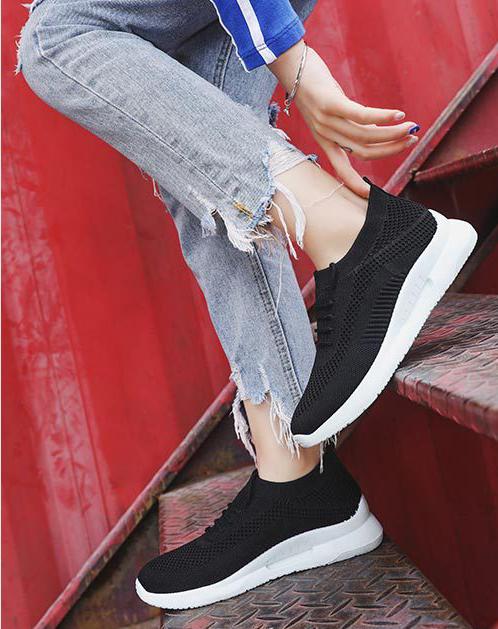 Giày thể thao vải nữ, 3 màu đen hồng trắng, đế cao su êm ái GN09 3