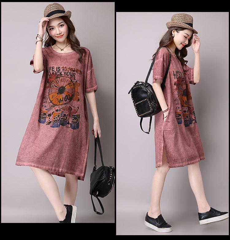 Đầm suông dạo phố chất thô họa tiết LAHstore, chất liệu vải bông mềm họa tiết độc dạo, thời trang Hàn Quốc - Xanh xám - XXL 1