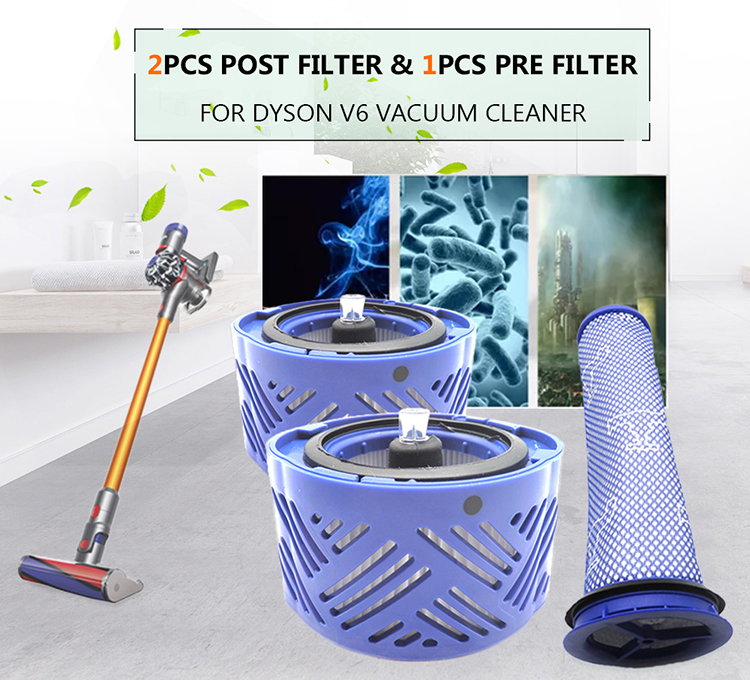 2pcs Post Filter & 1pcs Pre Filter HEPA Motor Filter Replacement for Dyson V6 Vacuum Cleaner Blue