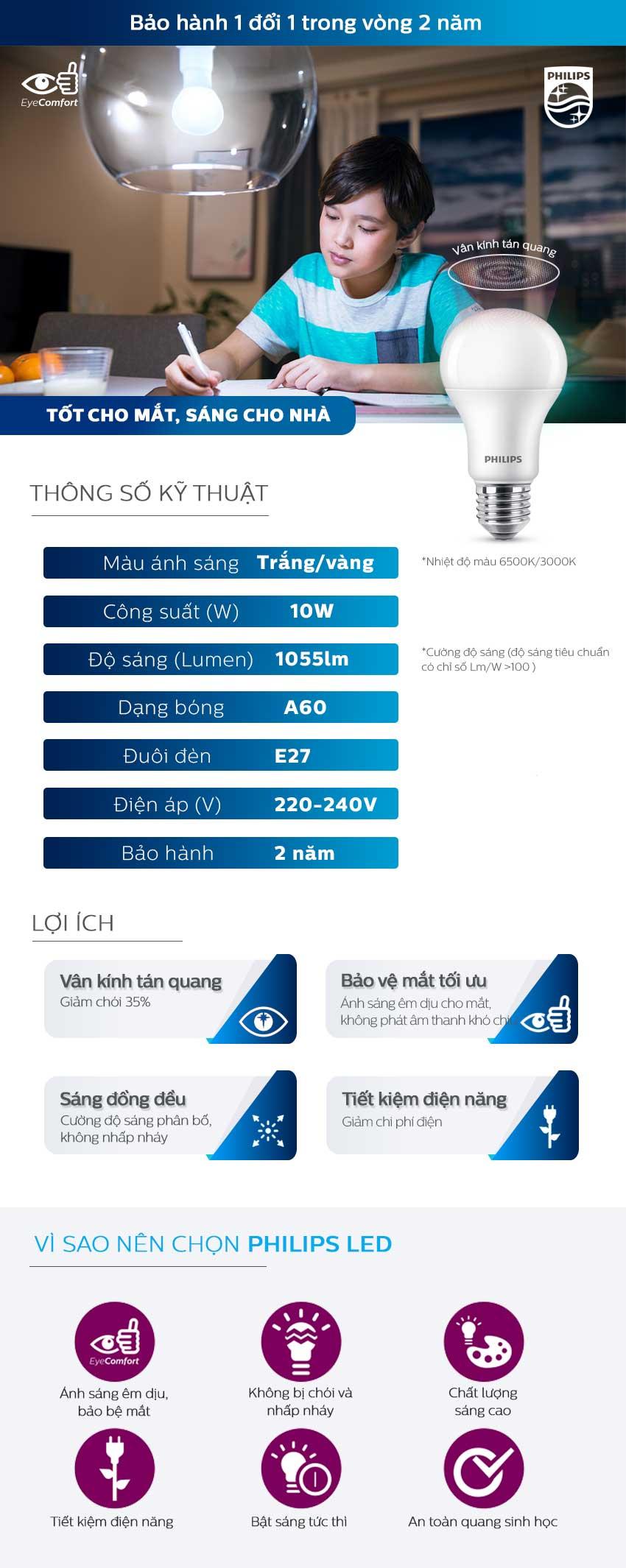 Bóng đèn Philips LED MyCare 10W 6500K E27 A60 - Ánh sáng trắng - Hàng Chính Hãng