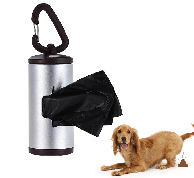 Colorful Pet Poop Holder Dog Waste Dispenser Aluminum Alloy Tube Includes 15pcs Waste Bags Refillable