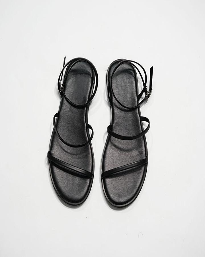 Sandal Nữ Quai Mảnh Đế Bệt Black Basic 7