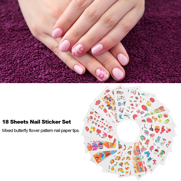 18 Sheets Nail Art Stickers Butterfly Flower Patterns Paper Tip DIY Manicure Styling Tool Set