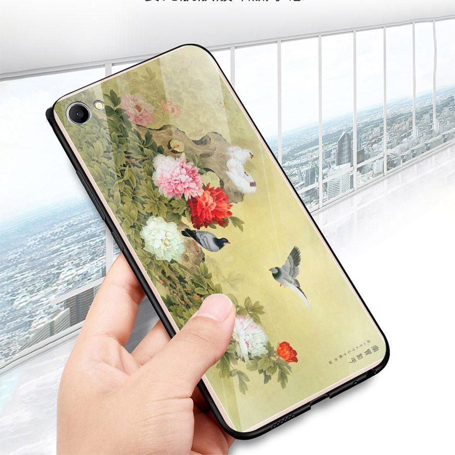Ốp điện thoại kính cường lực cho máy Oppo A83/A1 - mẫu đơn MS MAUDON019