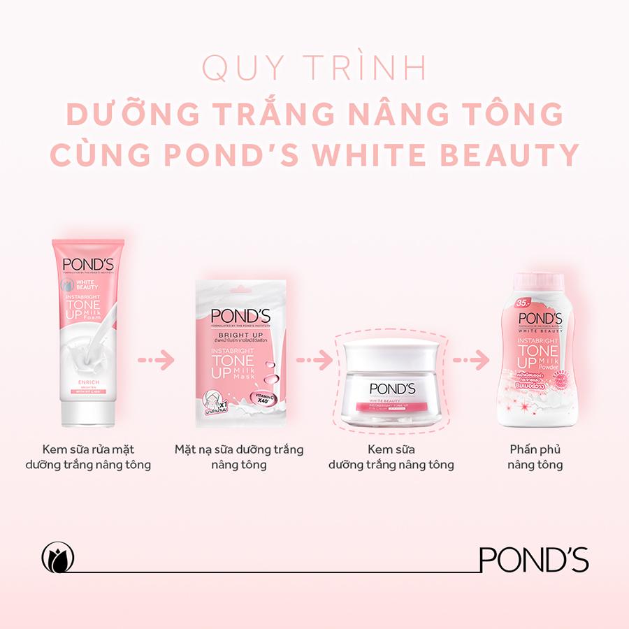Combo Kem Sữa Rửa Mặt Dưỡng Trắng Nâng Tông Pond'S White Beauty 100G, Phấn Phủ Nâng Tông Pond'S  40G Và Kem Sữa Dưỡng Trắng Nâng Tông Pond'S 50G