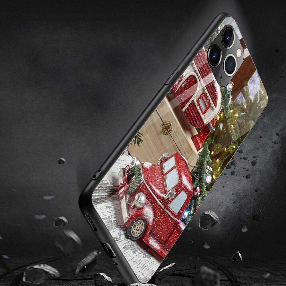 Ốp điện thoại kính cường lực cho máy iPhone 11 Pro Pro Pro - giáng sinh đầm ấm MS GSDA021