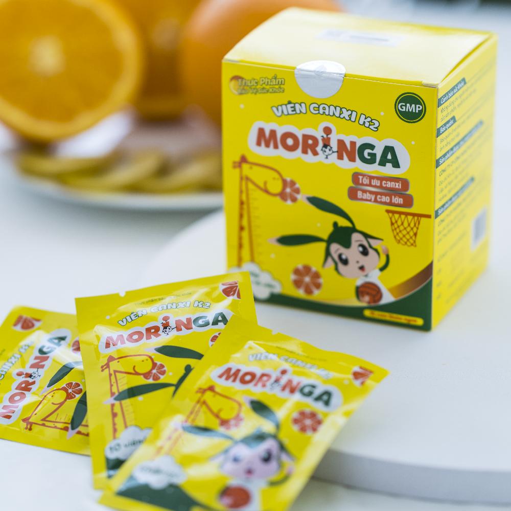 COMBO 2 hộp Viên Canxi K2 Moringa - Bổ sung Canxi và Vitamin K2, tăng chiều cao, chống còi xương ở trẻ em - Hộp 8 gói 3