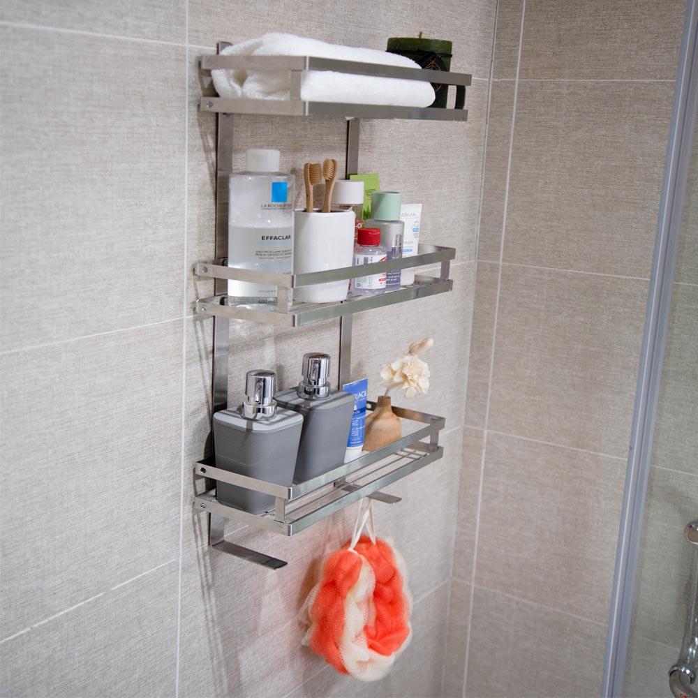 Kệ nhà tắm dán tường đa năng 3 tầng Foodcom chất liệu inox cao cấp không han gỉ, để đồ dùng phòng tắm, giúp phòng tắm gọn gàng ngăn nắp có keo