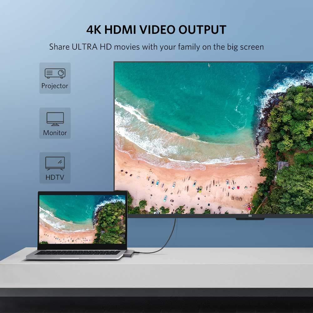 Cáp chuyển USB Type C to HDMI, Lan, USB 3.0, hỗ trợ sạc USB C chính hãng Ugreen 50984 cao cấp