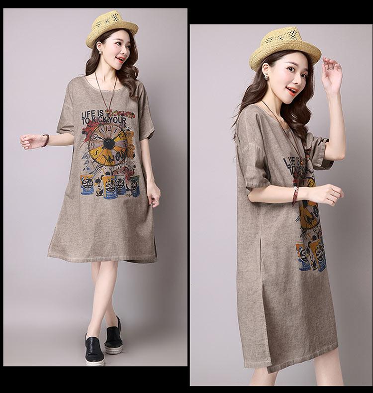 Đầm suông dạo phố chất thô họa tiết LAHstore, chất liệu vải bông mềm họa tiết độc dạo, thời trang Hàn Quốc - Xanh xám - XXL 6