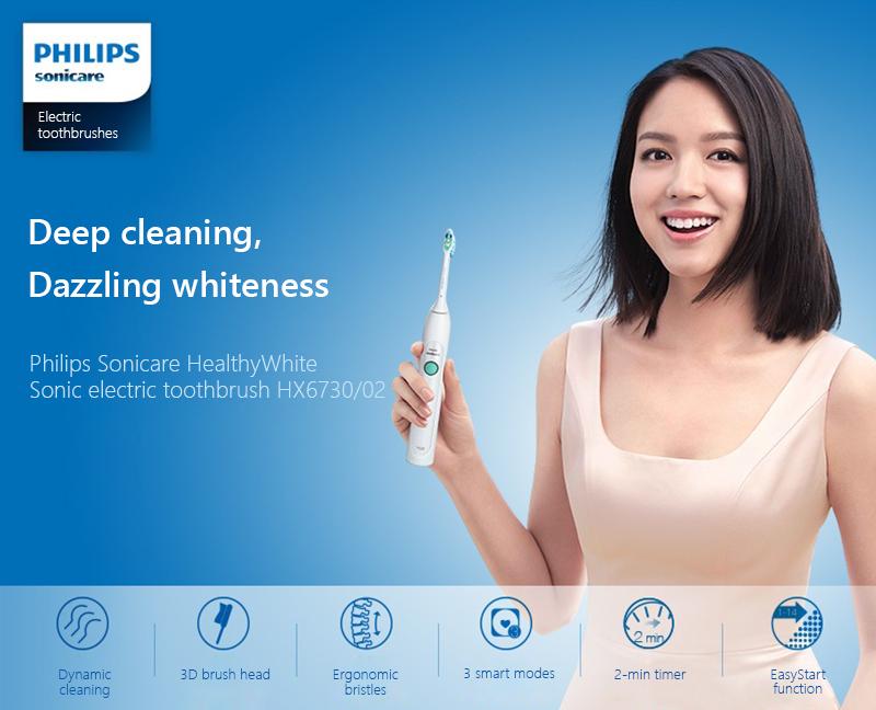 Bàn Chải Đánh Răng Điện Tử Philips HX6730 - Trắng