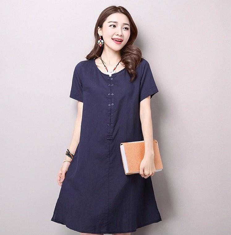 Đầm suông form rộng chữ A xẻ tà gấu LAHstore, thời trang phong cách Hàn Quốc 4