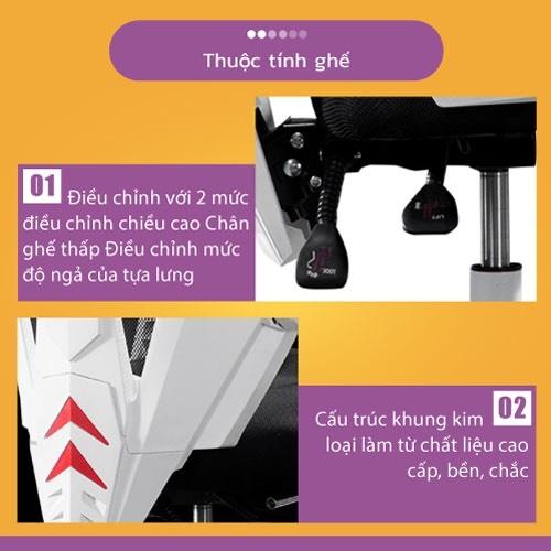 Ghế chơi game cao cấp, chân xoay ngã 135 độ dành cho game thủ có gối tựa đầu mẫu E03 Thái Lan (Hàng nhập khẩu) 20