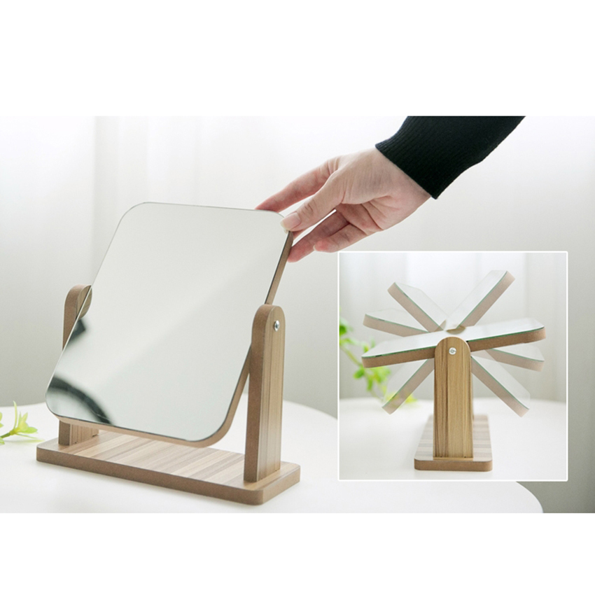 Gương trang điểm cao cấp chất liệu gỗ ép, điều chỉnh góc nhìn 360 độ loại lớn 5