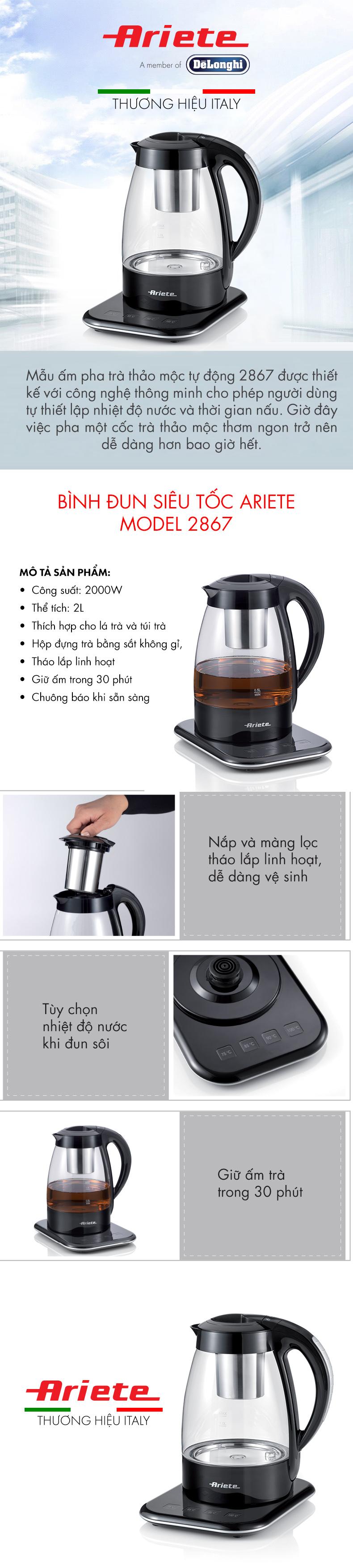 Bình đun pha trà 1,2 lít Ariete  MOD. 2867 - Hàng chính hãng