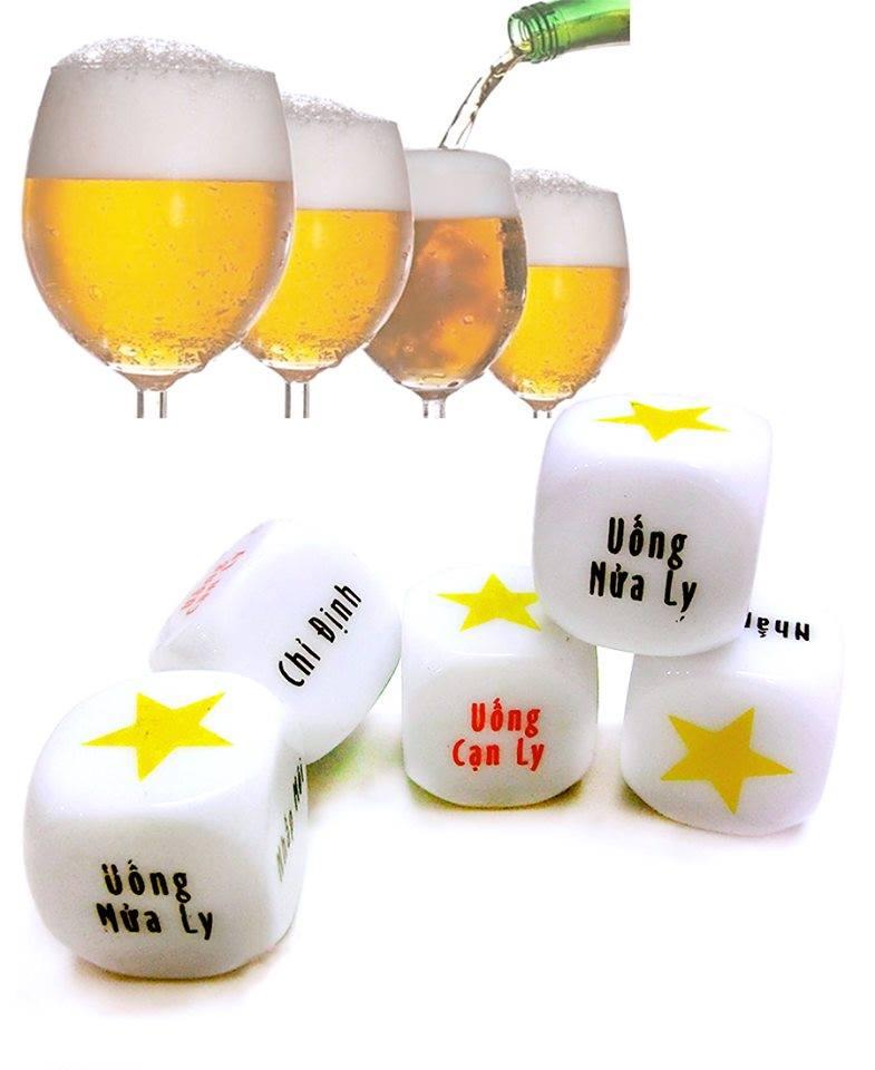 Xí ngầu uống bia set 05 viên với 6 mặt chữ 1