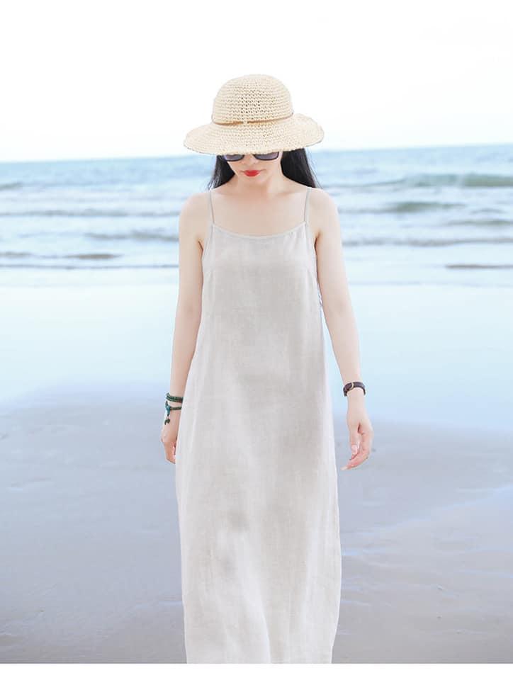 Đầm suông 2 dây đi biển LAHstore, chất thô mềm mát, thời trang phong cách Hàn Quốc 3