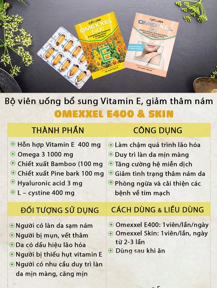 Bộ thực phẩm chức năng viên uống bổ sung Vitamin E, giảm thâm nám Omexxel E400 & Skin 60 viên