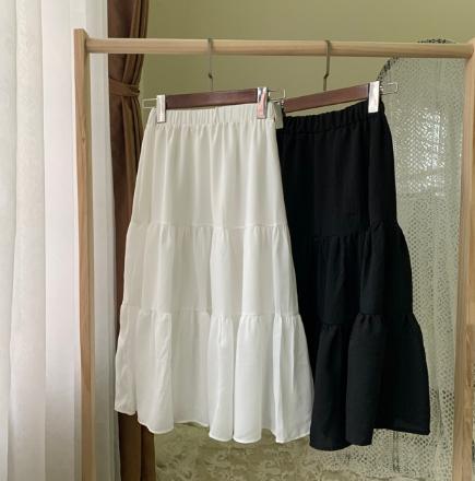 Chân váy xòe 2 tầng cạp chun dáng dài vải voan 2 lớp freesize xinh xắn thoải mái 4
