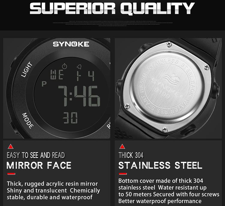 SYNOKE 9199 Sport Watch LED Digital Watch Alarm Luminous Second Timing Waterproof Sport Band