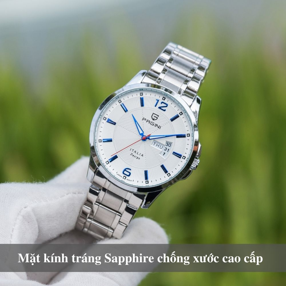 Đồng hồ nam PAGINI PA5533W dây thép không gỉ - Lịch ngày cao cấp 2