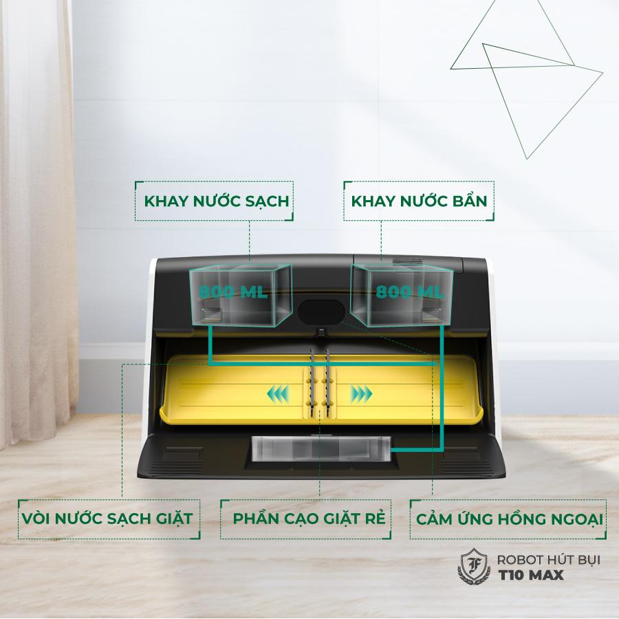 Robot hút bụi lau nhà T10 Max có 2 khay đựng nước sạch và bẩn riêng biệt, mỗi khay 800 ml